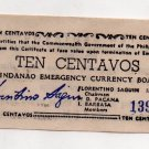 Philippines S512b 1944 Mindanao 10 Centavos Emergency Banknote CV $25 in XF