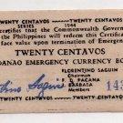 Philippine Mindanao 1944 WW2 S521 20 Centavos Rare 15k Printed Low Print