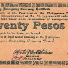 PHILIPPINES Negros Emergency Note 1945 20 Pesos S684 Printed On Paper Bag UNC
