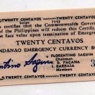 Philippines S503 1943 Mindanao 20 Centavos Emergency Banknote AU to Uncirculated