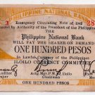 Philippine Iloilo 1942 100 Pesos Note S322 From 2nd Group of Printing Damaged