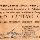 Philippines 1943 Mindanao 10 Centavos Emergency Banknote S482a WWII 1st Printing