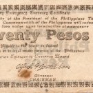 PHILIPPINES Negros Emergency Note 1944 20 Pesos S678 White Paper WW2 Circulated