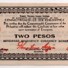 Philippines 1944 Mindanao 2 Pesos Emergency Banknote S516a NARROW DATE 11mm