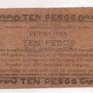 Philippines 1943 Mindanao 10 Pesos Emergency 1st Issue S488 C/S PACANA Signature
