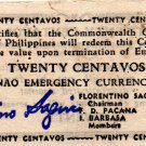 Philippines 1944 Mindanao 20 Centavos Emergency Banknote S513a WWII