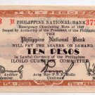 Philippine National Bank Note Iloilo 1942 10P S317  Guerilla Emergency Dialosa