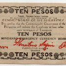 Philippines 1944 Mindanao 10 Pesos Emergency Banknote S527a No Series Letter