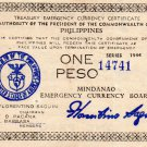 Philippines 1944 Mindanao One 1 Peso Emergency Banknote S523c Series V Only 20k