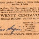 Philippines 1943 Mindanao 20 Centavos Emergency Banknote S483b  WWII No Initials