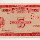 Philippines P126a ND English Series Note 1949 5 Centavos Magsaysay and Cuaderno