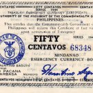 Philippines 1944 Mindanao 50 Centavos Emergency Banknote S522b Series 5