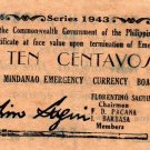 Philippines 1943 Mindanao 10 Centavos Emergency Banknote S492 WWII AU to UNC