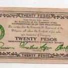 Philippines 1944 Mindanao 20 Pesos Emergency Banknote S528c Series R5 AU-UNC