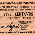 Philippines 1943 Mindanao 5 Centavos Emergency Banknote S491 WWII Uncirculated