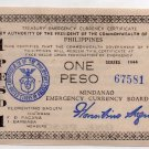 Philippines 1944 Mindanao One 1 Peso Emergency Banknote S523b NO SERIES LETTER