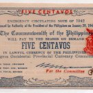 Philippines 1942 Negros Occidental 5 Centavos Banknote S640 Encarnacion WW2