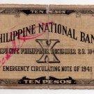 Philippines Emergency Cebu S217 1941 10 Pesos CS X2 Treas. Kadavero + Mpal OMEGA