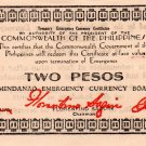 Philippines 1943 Mindanao 2 Pesos Emergency Banknote S506 WWII XF Series DD