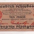 Philippines 1943 Mindanao 10 Pesos Emergency Banknote S508 WWII XF