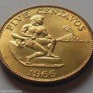 1966 Philippine 5 Centavos Coin Brass KM#187 Brass Uncirculated