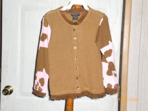 PINK AND BROWN BUTTON DOWN SWEATER FLOWERS BY ZOE