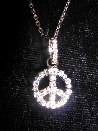 """Sterling Silver Peace Sign Pendant Chain Necklace 16"""""""