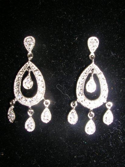Sterling Silver CZ  Dangle Chandelier Earrings