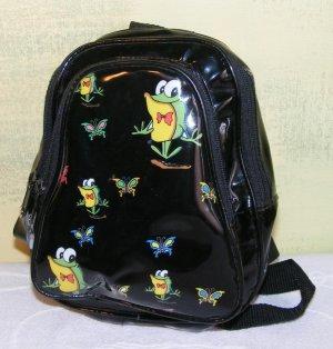 Mini Back Pack Purse Frogs Butterflys Black Vinyl Girls