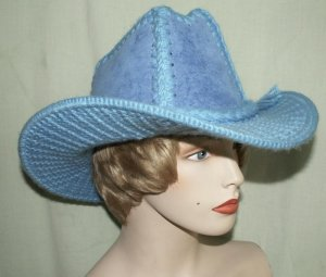 Bright Blue Kit Cowgirl Hat Woven Flocked Vtg Western