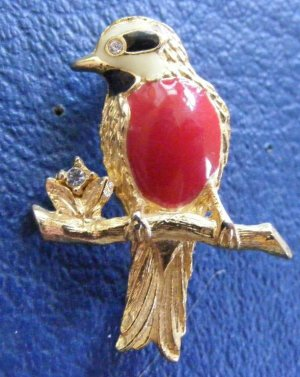 Bird Pin Gold Tone Enamel Rhinestone Red Black Cream