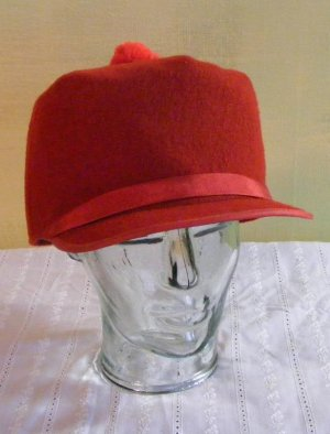 Vintage Red Wool Cap Hat Quilted Lining Flex-O-Band 22