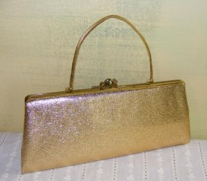 Gold Lame Convertible Clutch Evening Bag Purse Glam