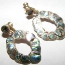 Mexico Sterling Silver 925 Abalone Shell Inlay Earrings