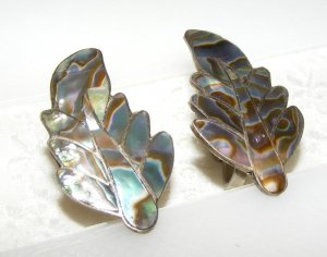 Taxco Mexico Abalone Shell Inlay  Earrings Leaf Vintage