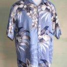 Rayon Floral Print Hawaiian Aloha Shirt Blue Beige L