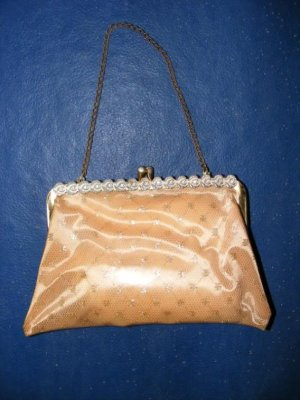Vinyl Make Up Bag Purse Apricot Gold Glitter Small