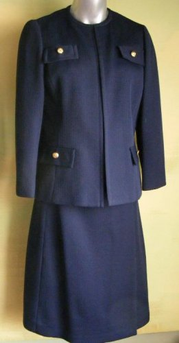 70S Dark Blue Navy Skirt Suit Ribbed Polyester  M
