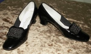 Rockabilly Black Patent Leather Red Cross Shoes 7 N