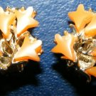 Apricot Thermoset Clip Earring Botanical Flowers Leaves
