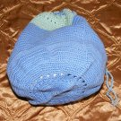 Blue Green Woven Reticule Bag Purse Wristlet Walking
