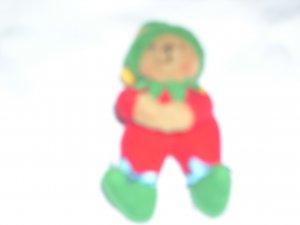 Fuzzy Teddy Elf Christmas Pin
