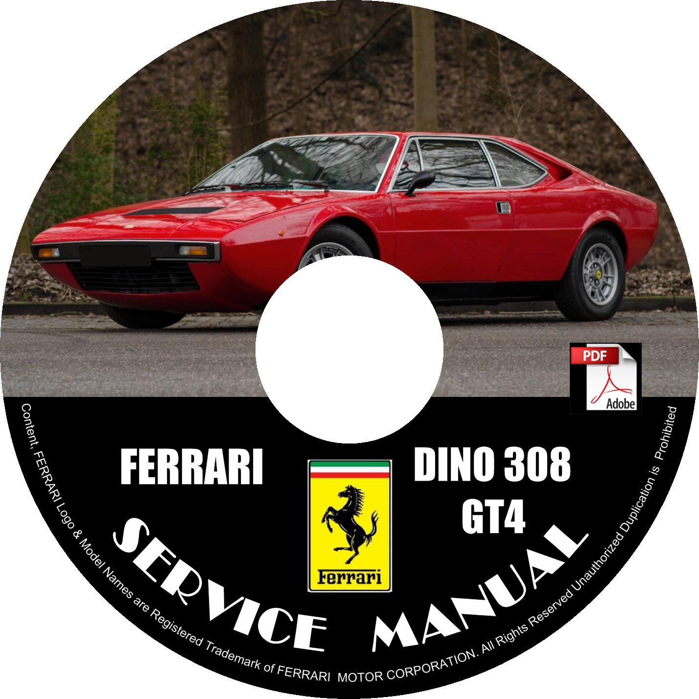 1974 Ferrari Dino 308 GT4 Factory Service Repair Shop Manual on CD Fix Rebuilt