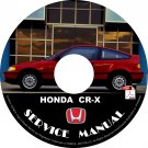 1988 Honda CRX CR-X Factory Service Repair Shop Manual on CD Fix Repair Rebuilt 88 Workshop Guide