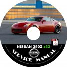 2008 Nissan 350Z Coupe Factory Service Repair Shop Manual on CD Z33 VQ35DE
