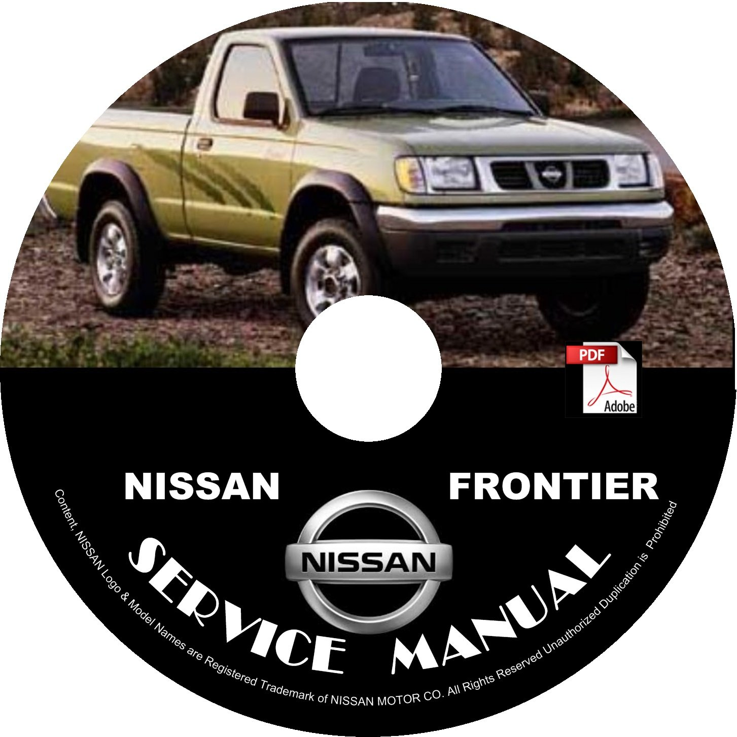 1999 Nissan Frontier Service Repair Shop Manual on CD (6-cyl. 3.3L VG engine).