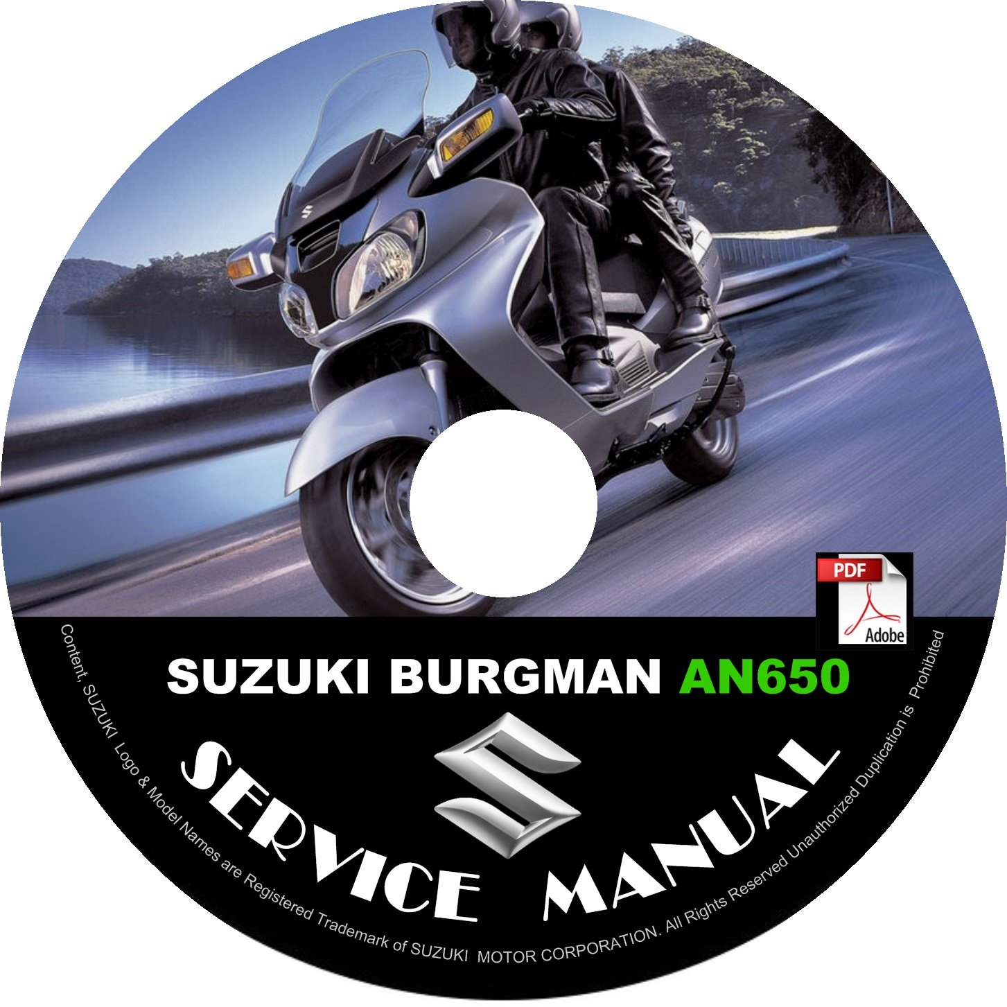 2003 Suzuki Burgman 650 AN650 Factory Service Repair Shop Manual on CD Fix Rebuilt Workshop Guide