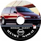 1998 Nissan Quest Minivan Factory Service Repair Shop Manual on CD Fix Rebuilt