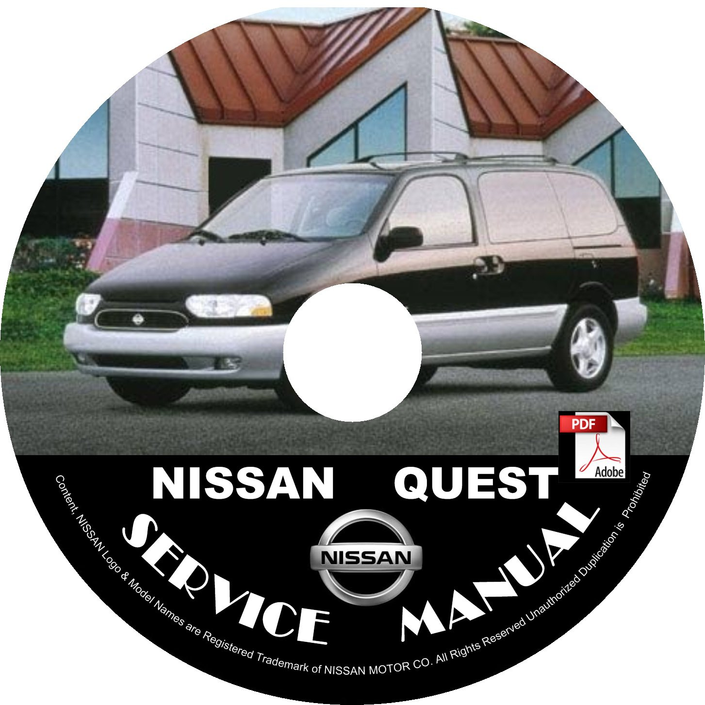 1999 Nissan Quest Minivan Factory Service Repair Shop Manual on CD Fix Rebuilt
