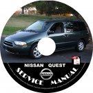 2002 Nissan Quest Minivan Factory Service Repair Shop Manual on CD Fix Rebuilt